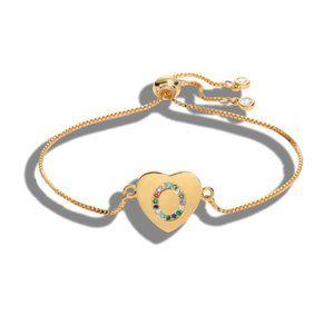 "Gold Heart Letter ""O"" Initial Name CZ Bracelet"